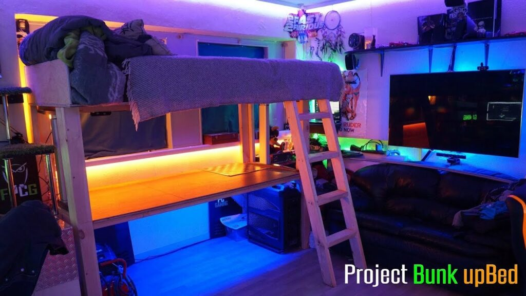 loft bed with gaming setup