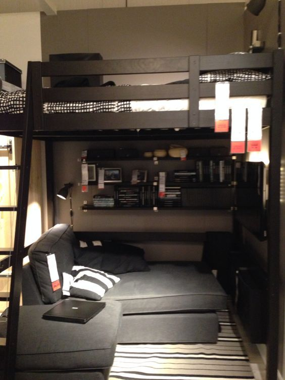 loft bed with study area and gaming setup