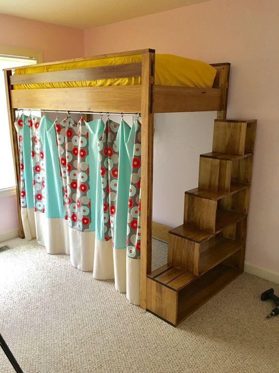 loft bed with shelf stairs